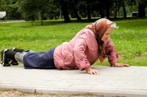 Did she fall or is she doing the plank???